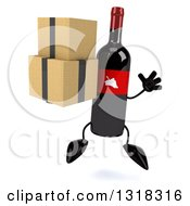 Clipart Of A 3d Wine Bottle Mascot Jumping And Holding Boxes Royalty Free Illustration