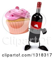 Clipart Of A 3d Wine Bottle Mascot Holding And Pointing To A Pink Frosted Cupcake Royalty Free Illustration