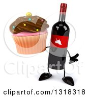 Clipart Of A 3d Wine Bottle Mascot Shrugging And Holding A Chocolate Frosted Cupcake Royalty Free Illustration