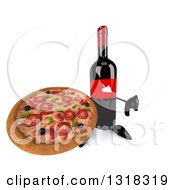 Clipart Of A 3d Wine Bottle Mascot Holding Up A Thumb Down And A Pizza Royalty Free Illustration