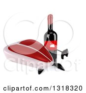 Clipart Of A 3d Wine Bottle Mascot Holding Up A Beef Steak And Thumb Down Royalty Free Illustration