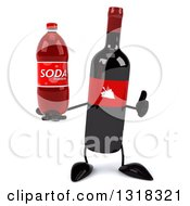 Clipart Of A 3d Wine Bottle Mascot Giving A Thumb Up And Holding A Bottle Royalty Free Illustration