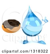 Clipart Of A 3d Water Drop Character Holding Up A Finger And A Chocolate Glazed Donut Royalty Free Illustration