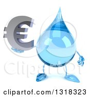 Clipart Of A 3d Water Drop Character Holding A Euro Symbol Royalty Free Illustration