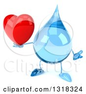 Clipart Of A 3d Water Drop Character Shrugging And Holding A Heart Royalty Free Illustration