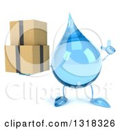 Clipart Of A 3d Water Drop Character Holding Up A Finger And Boxes Royalty Free Illustration