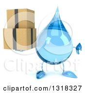 Clipart Of A 3d Water Drop Character Holding A Thumb Down And Boxes Royalty Free Illustration