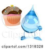 Clipart Of A 3d Water Drop Character Holding And Pointing To A Chocolate Frosted Cupcake Royalty Free Illustration
