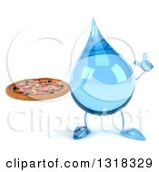 Clipart Of A 3d Water Drop Character Holding Up A Finger And A Pizza Royalty Free Illustration