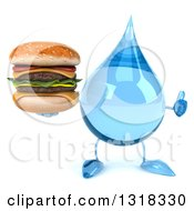 Clipart Of A 3d Water Drop Character Giving A Thumb Up And Holding A Double Cheeseburger Royalty Free Illustration