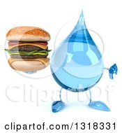 Clipart Of A 3d Water Drop Character Giving A Thumb Down And Holding A Double Cheeseburger Royalty Free Illustration