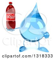 Clipart Of A 3d Water Drop Character Holding And Pointing To A Soda Bottle Royalty Free Illustration