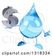 Clipart Of A 3d Water Drop Character Shrugging And Holding A Dollar Symbol Royalty Free Illustration