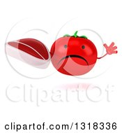Clipart Of A 3d Unhappy Tomato Character Jumping And Holding A Beef Steak Royalty Free Illustration
