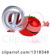 Clipart Of A 3d Happy Tomato Character Facing Right Jumping And Holding An Email Arobase At Symbol Royalty Free Illustration