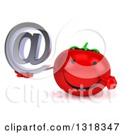 Clipart Of A 3d Happy Tomato Character Holding And Pointing To An Email Arobase At Symbol Royalty Free Illustration