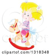 Clipart Of A Cartoon Blond Caucasian Girl Playing On A Rocking Horse Royalty Free Vector Illustration by Alex Bannykh