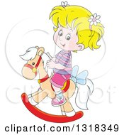 Clipart Of A Cartoon Blond White Girl Playing On A Rocking Horse Royalty Free Vector Illustration by Alex Bannykh