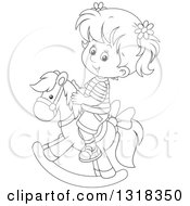 Lineart Clipart Of A Cartoon Black And White Girl Playing On A Rocking Horse Royalty Free Outline Vector Illustration by Alex Bannykh