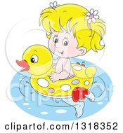 Clipart Of A Cartoon Blond White Girl Swimming With A Duck Inner Tube Royalty Free Vector Illustration