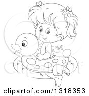 Lineart Clipart Of A Cartoon Black And White Girl Swimming With A Duck Inner Tube Royalty Free Outline Vector Illustration