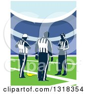 Clipart Of Referees With A Penalty Flag In A Stadium Royalty Free Vector Illustration