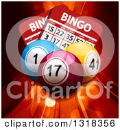 Clipart Of 3d Colorful Bingo Balls Over Cards Flares And Swooshes Royalty Free Vector Illustration