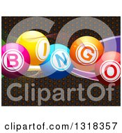 Clipart Of 3d Colorful Bingo Text Balls Over Perforated Metal And Mesh Waves Royalty Free Vector Illustration