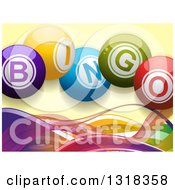 Clipart Of 3d Colorful Bingo Text Balls Over Mesh Waves On Yellow Royalty Free Vector Illustration