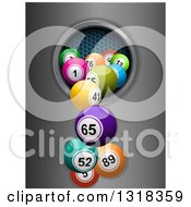 Clipart Of 3d Colorful Bingo Balls Falling From A Hole Over Metal Royalty Free Vector Illustration