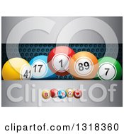 Clipart Of 3d Colorful Bingo Balls Over Perforated And Brushed Metal Royalty Free Vector Illustration