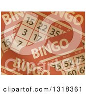 Clipart Of A Background Of Brown Paper Textured Bingo Cards Royalty Free Vector Illustration