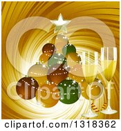 Clipart Of A Christmas Ornament Bauble Christmas Tree With 3d Champagne Glasses Over A Gold Swirl Royalty Free Vector Illustration by elaineitalia