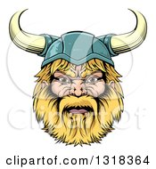Cartoon Tough Blond Male Viking Warrior Head With A Horned Helmet