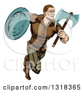Clipart Of A Muscular Viking Warrior Sprinting With An Axe And Shield Royalty Free Vector Illustration by AtStockIllustration