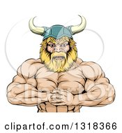 Clipart Of A Cartoon Muscular Blond Male Viking Warrior Punching One Fist Into A Palm Royalty Free Vector Illustration by AtStockIllustration