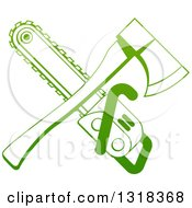 Clipart Of A Gradient Green Crossed Tree Surgeon Chainsaw And Axe Royalty Free Vector Illustration by AtStockIllustration