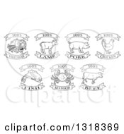 Clipart Of Black And White One Hundred Percent Vegetarian Lamb Pork Chicken Fish Seafood And Beef Labels Royalty Free Vector Illustration