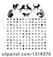 Clipart Of Black Silhouetted Animals And Insects Royalty Free Vector Illustration by AtStockIllustration