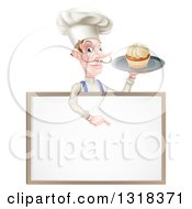 Clipart Of A White Male Chef With A Curling Mustache Holding A Cupcake On A Tray And Pointing Down Over A Blank Menu Sign Royalty Free Vector Illustration