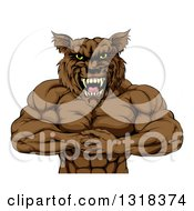 Clipart Of A Tough Vicious Muscular Brown Wolf Man Punching His Fist Into Palm Royalty Free Vector Illustration