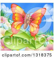 Clipart Of A Cartoon Happy Butterfly Over Summer Flowers Leaves And Sky Royalty Free Vector Illustration by AtStockIllustration