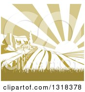 Clipart Of A Cottage Farmhouse Atop A Hill With Fields At Sunrise Royalty Free Vector Illustration by AtStockIllustration