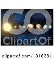 Clipart Of A 3d Diagram Of Planets In Our Solar System Royalty Free Vector Illustration