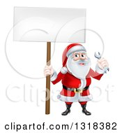 Clipart Of A Happy Christmas Santa Holding A Spanner Wrench And Blank Sign Royalty Free Vector Illustration