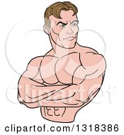 Cartoon White Male Bodybuilder With Folded Arms Looking To The Side