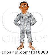 Clipart Of A Cartoon Black Male Private Army Soldier Royalty Free Vector Illustration by LaffToon