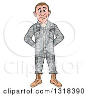Cartoon White Male Private Army Soldier