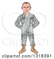 Clipart Of A Cartoon Caucasian Male Private Army Soldier Royalty Free Vector Illustration by LaffToon
