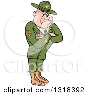 Clipart Of A Cartoon White Male Army Sergeant With Folded Arms Looking Stern Royalty Free Vector Illustration by LaffToon